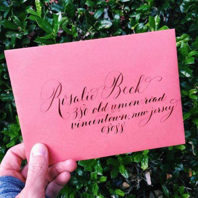 calligraphy envelopes walnut ink address christmas