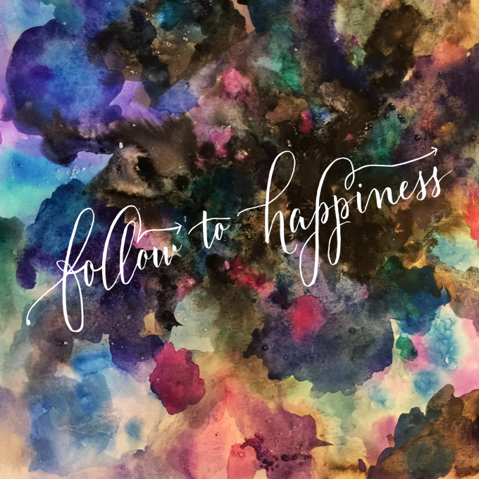 Watercolor galaxy handlettering happiness