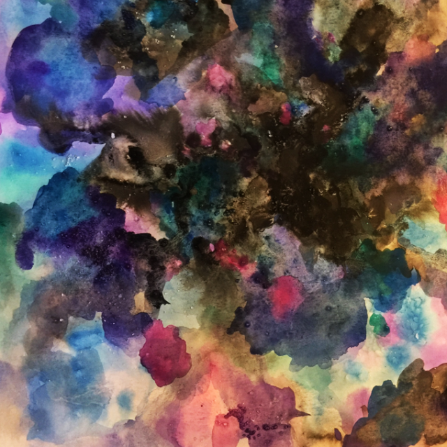 Watercolor galaxy calligraphy background