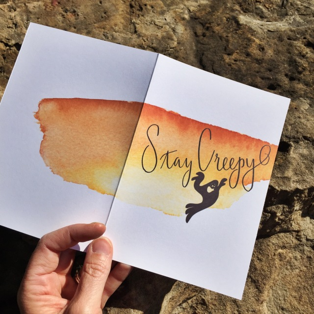 Halloween card Stay Creep hand lettering watercolor