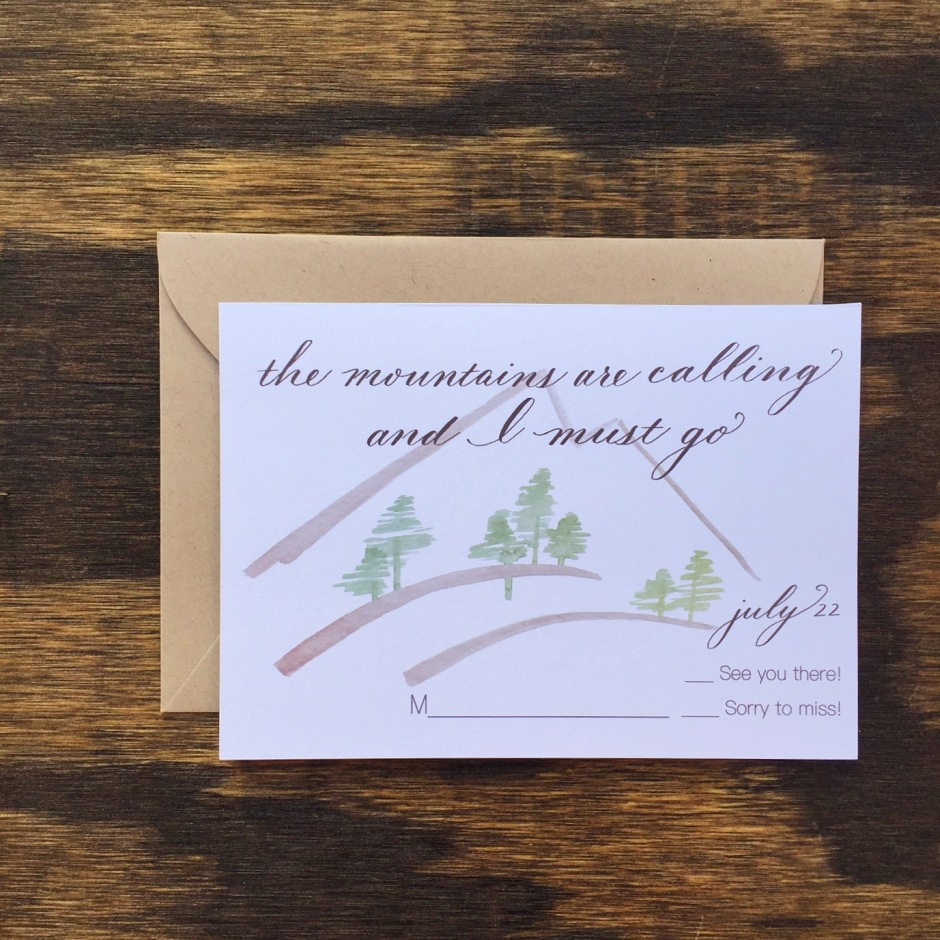 mountains are calling and I must go calligraphy rsvp card weddings