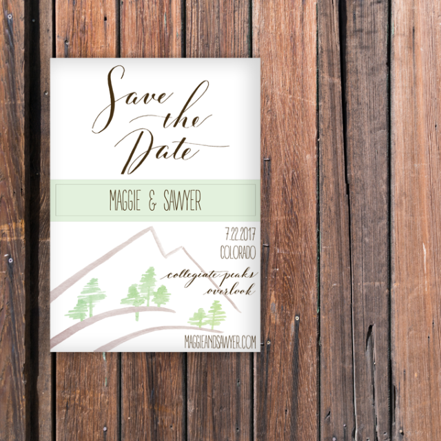 save the date colorado wedding forest mountains july