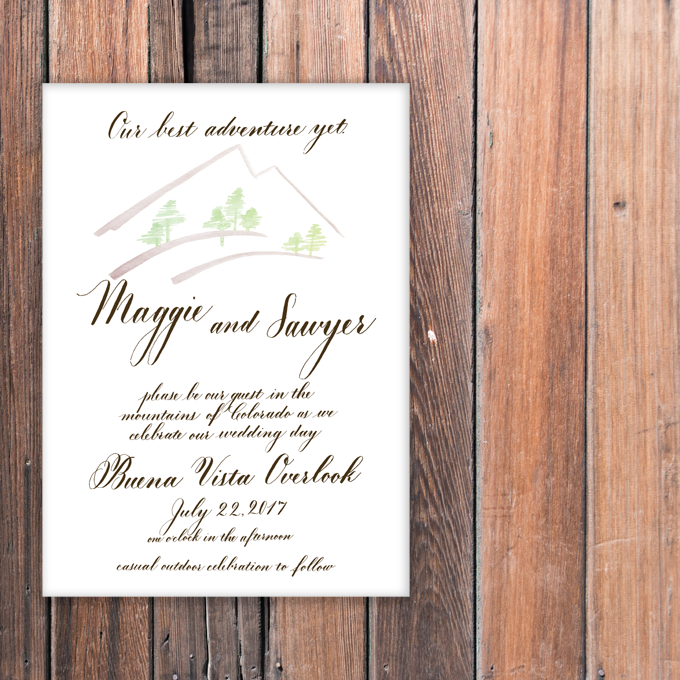 wedding invitation colorado mountains buena vista overlook