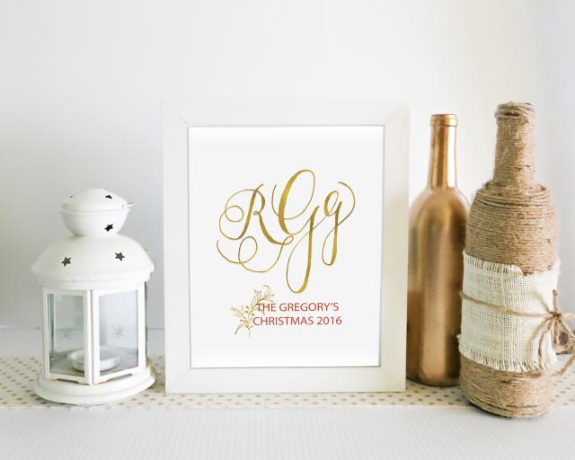 monogram print family names custom quote hand lettered