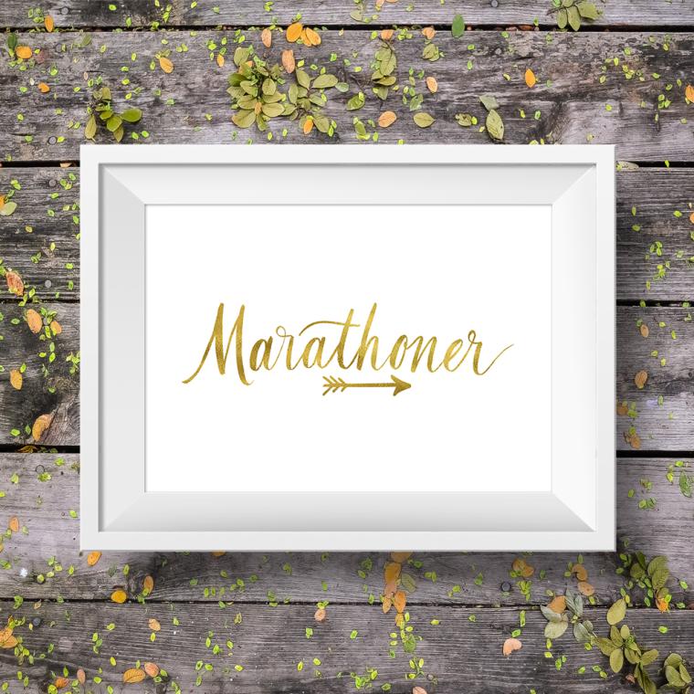 marathoner marathons calligraphy hand lettered art print running runner gold foil
