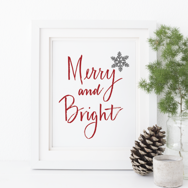 merry and bright digital download wall decor art home