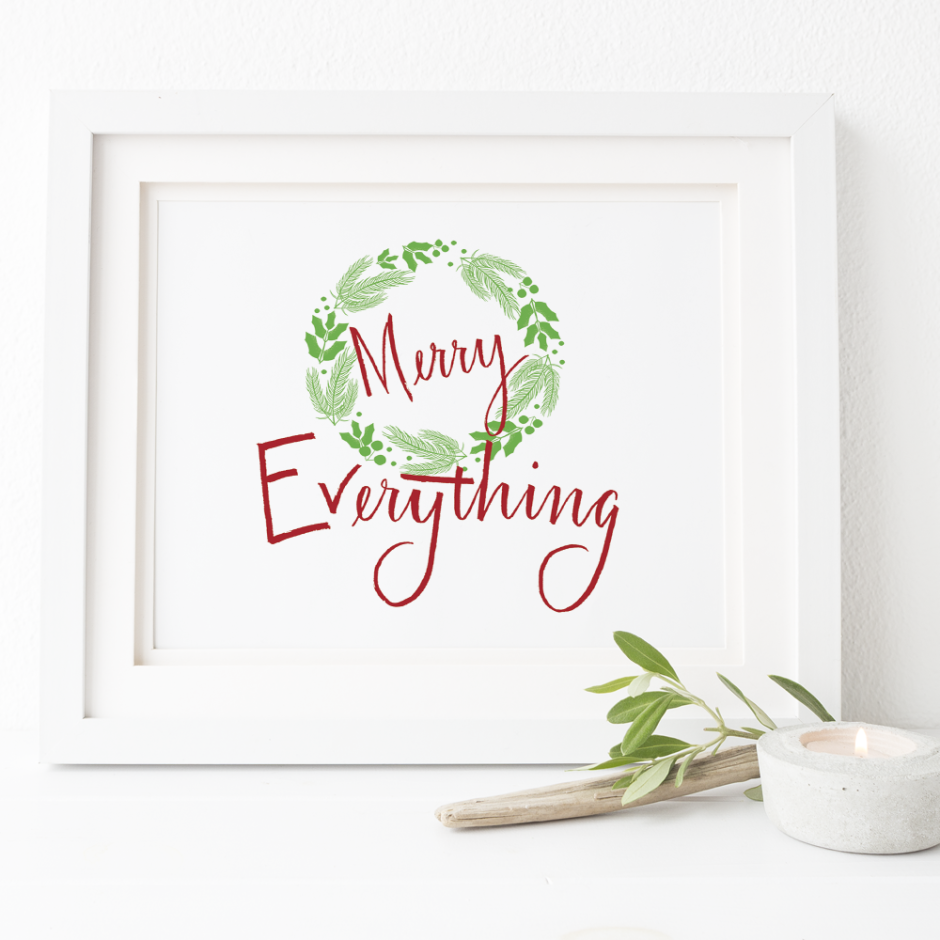 hand lettered quote christmas holidays digital download wall art