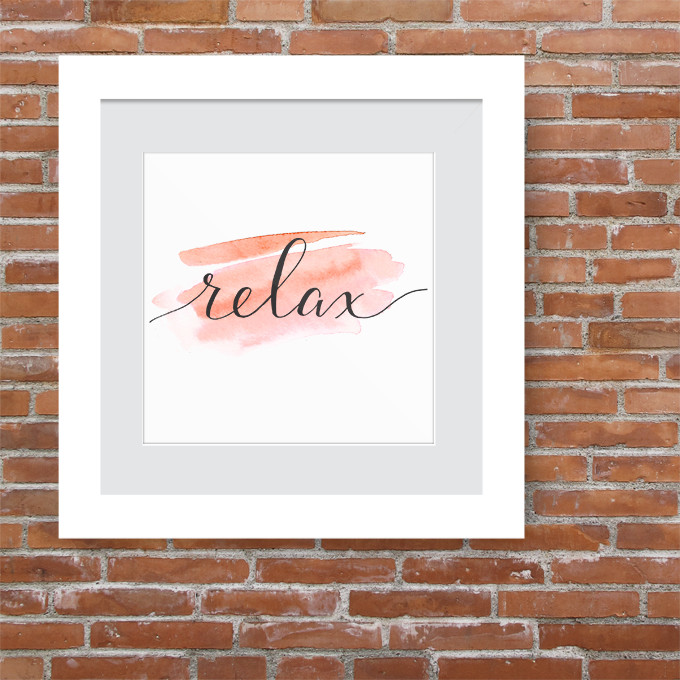 watercolor print relax calligraphy freebie