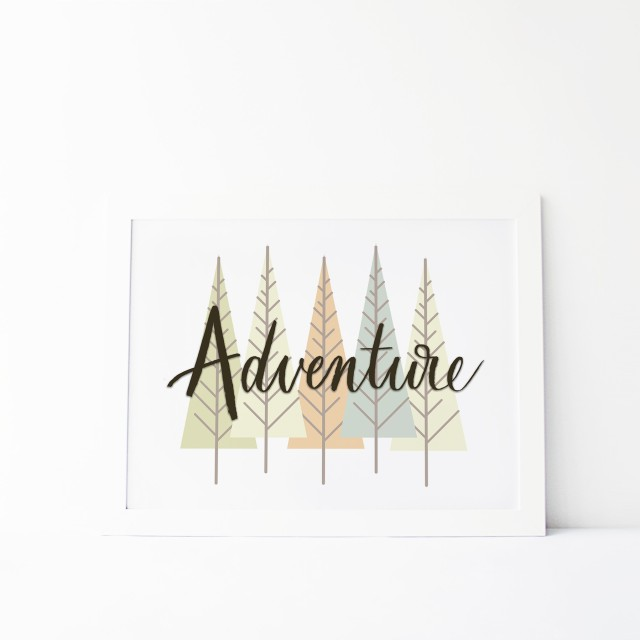 adventure print wall decor trees hand lettered quotes outside camping