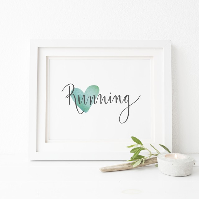 Love running 8 x 10 wall art for runners gift printable digital download