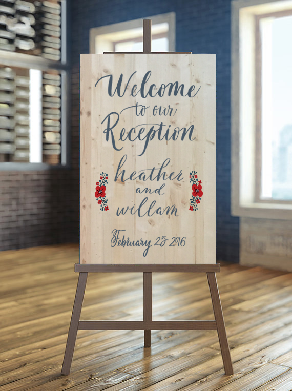 welcome to our reception wood sign wedding calligraphy